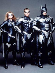 Batman And Robin - Promo shot of George Clooney, Alicia Silverstone & Chris O'Donnell Batman And Robin Movie, Batman And Batgirl, Batman Family, Batman Art, Superman, Gotham Batman, Batwoman, Nightwing, Hq Marvel