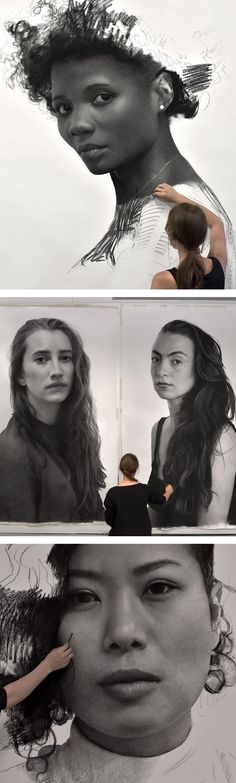 Towering Charcoal Portraits of Women by Clio Newton