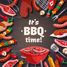 Barbecue grill composition with brazier meat and vegetable skewers pot holder and flatware images with text vector illustration. E