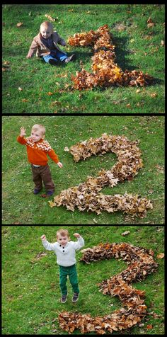Cute idea for taking your child's picture at fall time.  Arrange leaves or pumpkins in the shape of your child's age at that time, and take the picture with the child beside it.  Do this each year for darling keepsake photos.