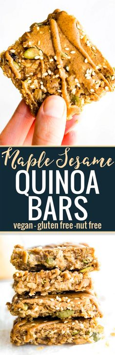 These MAPLE SESAME QUINOA BARS make a delicious vegan breakfast bar or energy bar. A combo of maple, sesame seed, gluten free oats, sunflower seed butter, and quinoa create a sweet and nutty taste without nuts. A whole grain quinoa bar packed with plant b