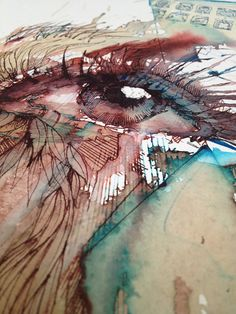 Close-up of eye painting by Carne Griffiths