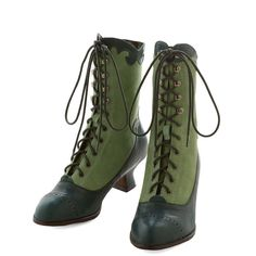 Miss L Fire Vintage Inspired, French Victorian Vixen Boot (£81) ❤ liked on Polyvore featuring shoes, boots, green, heels, heeled boot, boot - bootie, heeled ankle boots, green ankle boots, real leather boots and victorian ankle boots