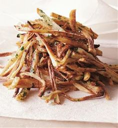 """Garlic """"Fries"""" - I would soak the fries in cold water for 20 minutes first, pat dry, and then go forward.  That will help crisp them up."""