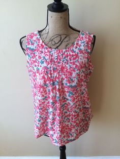Talbots Women's Sleeveless Pink Floral Tank Top Shirt Size Small #Talbots #TankCami #Casual