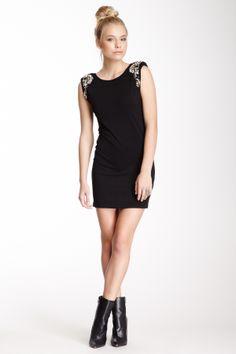 826d83e4bf2 Beaded Shoulder Dress Cute Fashion