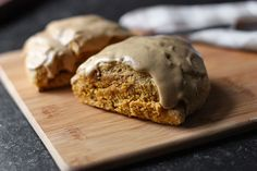Pumpkin Spice Scones with Cappuccino Cream Glaze - tender and super-yummy pumpkin spice scones, laced with espresso, and topped with a to-die-for cappuccino cream cheese glaze.  Hello, pumpkin season!  From SoupAddict.com #pumpkin #autumn