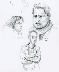Portrait réalisé sans reprise, dans le métro de Paris. Portraits drawn out of life in the Paris tube