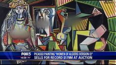 A screenshot from a Fox 5 news show, which shows the record-breaking Picasso painting blurred.