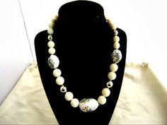 Vintage Japan Painted Bead Necklace Choker by ediesbest on Etsy, $10.50