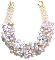 Helga Wagner Fresh Water Pearl Coins with Turquoise Chips and Tiffany clasp.