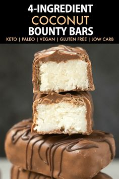 Homemade No Bake Coconut Bounty Bars (Paleo, Vegan, Keto, Sugar Free)- An easy recipe for low carb homemade bounty bars- 4 ingredients, 5 minutes and the perfect balance of coconut and chocolate! #healthyrecipe #ketodessert #ketorecipes #coconutchocolate #bounty | Recipe on thebigmansworld.com