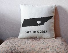 Custom state pillow cover, Tennessee map pillow case, linen cushion cover, wedding cushion case$19.95 USD