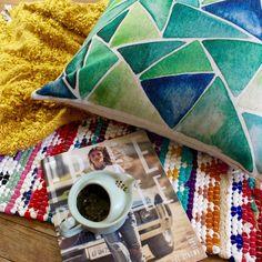 Summer Green Water Color Premium Cotton Linen Pillow Case #ArtDecoStyle