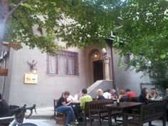 """See 168 photos from 1220 visitors about cozy, good for dates, and casual. """"June nice garden & new food in the menu. Took 2 salads: one with. Bucharest, Coffee Shops, Four Square, The Good Place, Spaces, Table Decorations, Nice, Coffee Shop, Nice France"""