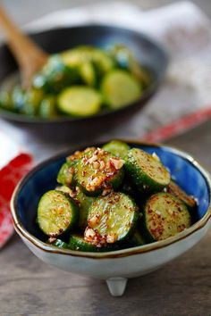 Asian Cucumber Salad - healthy cucumber salad with Asian spices. So refreshing and easy. A perfect appetizer for any meals. Asian Cucumber Salad, Cucumber Recipes, Salad Recipes, Easy Asian Recipes, Healthy Recipes, Delicious Recipes, Soup And Salad, My Favorite Food, Cooking Recipes
