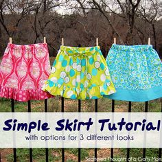 DIY Kid Clothes Fashion: DIY Simple Skirt Tutorial with Options for 3 Different Looks diy fashion diy refashion diy clothes diy ideas diy crafts diy kids diy sewing diy skirt Girls Skirt Patterns, Skirt Patterns Sewing, Sewing Patterns Free, Free Sewing, Skirt Sewing, Kids Clothes Patterns, Coat Patterns, Blouse Patterns, Free Pattern