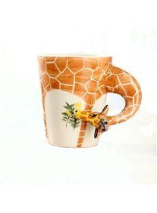 New Arrival Hand-painted 3D Ceramic Giraffe Creative Mug