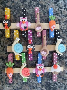 Fimo figures on clothespins