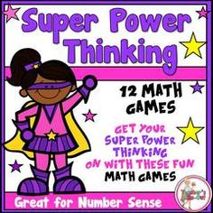 Super Power Thinking Games_Super Kid Theme - 12 Game Boards to Get Your Super Power Thinking On (Number Sense).  A GIVEAWAY promotion for Super Power Thinking Math Games (Super Kids) from Teachers Take Out on TeachersNotebook.com (ends on 4-6-2015)