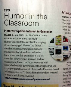 Using Humor via @Pinterest to teach grammar;  @NEA Today Fall 2012 Works 4 Me - Humor in the Classroom