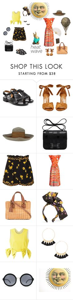 """""""HEAT WAVE"""" by susibonvi ❤ liked on Polyvore featuring Church's, Aquazzura, Suzanne Couture Millinery, Hermès, Topshop, Marc Jacobs, Mark Cross, Dolce&Gabbana, MSGM and Mimi & Lu"""