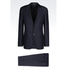 GIORGIO ARMANI Soft Line Suit In Virgin Wool ($2,795) ❤ liked on Polyvore featuring men's fashion, men's clothing, men's suits, navy blue, giorgio armani mens suits, mens navy suit and mens navy blue suit