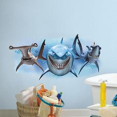 Disney / Pixar Finding Nemo Sharks Peel & Stick Giant Wall Decals, Blue
