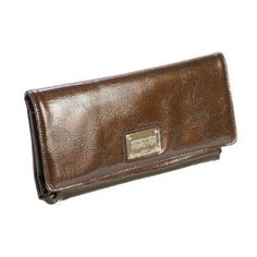 Kenneth Cole Reaction Brown Patent Clutch with Coin Purse