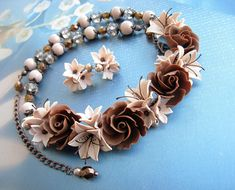 Cream Brown Toffee colors floral necklace earrings Polymer
