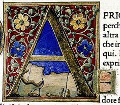 """""""A"""" . Douce Pliny. Florentine Venice 1476. detail. Bodl Lib. Douce310"""