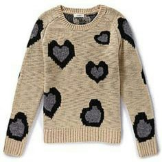 Beige sweater with blk and grey hearts ?4 hours only ?item will increase in the winter season. An item that has never been worn previously. Size Small. Sweaters