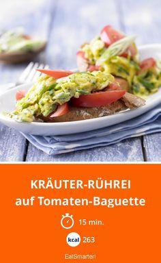 Kräuter-Rührei - auf Tomaten-Baguette - smarter - Kalorien: 263 kcal - Zeit: 15 Min. | eatsmarter.de