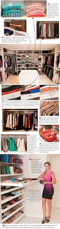 A apresentadora abre as portas de seu armário no apartamento em que  mora com o marido, Roberto Justus, em São Paulo, e mostra como organiza suas roupas e acessórios