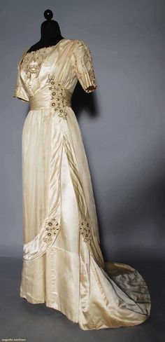 Ephemeral Elegance | Appliqued Silk Charmeuse Evening Gown, ca. 1910...