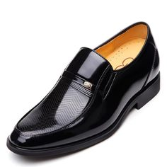 Black  quality elevator shoes 6.5cm / 2.56inch with the SKU:MENGOG_93973 - Groom elevator dress shoes increase height 6.5cm / 2.56 inches black glossy formal commercial leather shoes