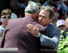 Former Alabama Coach Gene Stallings Congratulating Alabama Coach Nick Saban.