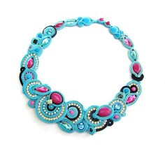 Exclusive Soutache Collar Necklace Fuchsia Pink Charm Glamour Chic Multicolor Handmade Neklace Jewelry Handmade Colorful Embroidery Soutache
