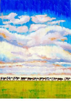 """Till the Cows Come Home"" Cow Painting, Shenandoah Valley, Landscape Paintings, Cows, Artwork, Virginia, Colorful, Inspiration, Cow Wall Art"