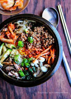 Korean Mixed Rice Bowl—Bibimbap – Sandra's Easy Cooking Cooking Tofu, Cooking Pumpkin, Easy Cooking, Cooking Recipes, Asian Recipes, Healthy Recipes, Ethnic Recipes, Beef Bowl Recipe, Bibimbap Recipe