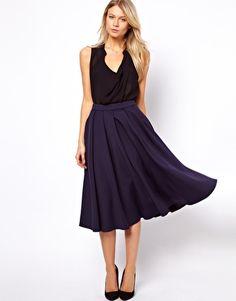 ASOS Full Midi Skirt with Box Pleats in navy