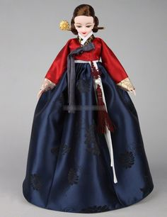 """Amazon.com: 11"""" Korean Barbie Doll with Hanbok Traditional Costume Red Peony Yeonji Ball Joint Body: Toys & Games"""