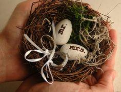 bird nest ring bearer | Easter wedding Inspiration: pastel colors | Ispirazione…
