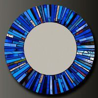 Mosaic Blue Stained Glass Mirror - Custom Order-, via Etsy. Stained Glass Mirror, Mirror Mosaic, Mosaic Art, Mosaic Glass, Mosaic Tiles, Mosaics, Glass Mirrors, Mosaic Designs, Mosaic Patterns