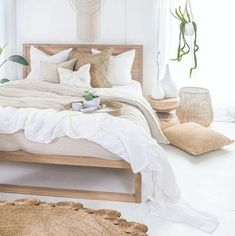 Our Strand Bed in French oak covered in beautiful . Our Strand Bed in French oak covered in beautiful linen Our Mele Stool making the perfect bedside table with our Inkosi Vases available in… Rustic Room, White Rooms, Bed Room White, Cream And White Bedroom, White Queen Bed, Home Bedroom, Bedroom Ideas, Linen Bedroom, Bed Ideas
