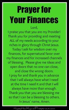 prayer for finances Prayer for Your Finances - Happy, Healthy amp; Prayer Scriptures, Bible Prayers, Faith Prayer, Prayer Quotes, Catholic Prayers Daily, Faith Bible, Good Prayers, Special Prayers, Prayers For Healing