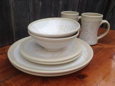 Hey, I found this really awesome Etsy listing at https://www.etsy.com/listing/182134731/white-fern-pottery-dinnerware-sets-for-2