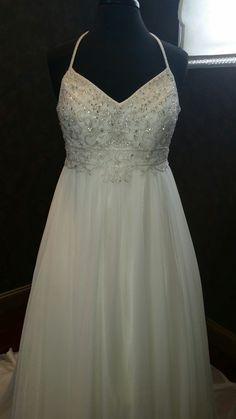 Chiffon Wedding Dress with straps READY TO by WeddingDressFantasy