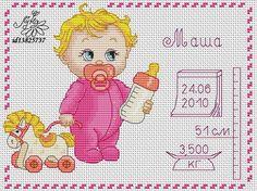 Mini Cross Stitch, Beaded Cross Stitch, Cross Stitch Alphabet, Cross Stitch Embroidery, Embroidery Patterns, Baby Cross Stitch Patterns, Baby Patterns, Baby Boy Cookies, Baby Kind