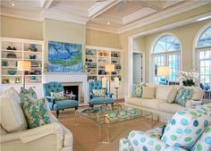 Coastal Living Room by Jacquelyn Armour (not fond of polka dotted fabric but love the colors)